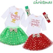Newborn Baby Girl Christmas Romper Tops Sequins Letter Jumpsuit Polka Do... - $12.39