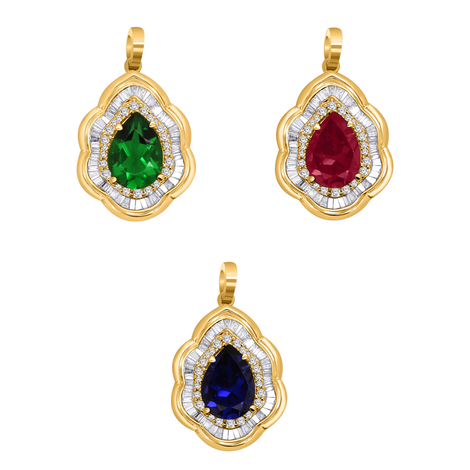 Primary image for 10K Yellow Gold Pear Shape Gemstone & Real Diamond Halo Cluster Pendant Charm