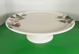 Ciroa HOLLY AND FLOWER Porcelain Cake Plate Stand Christmas Berry - $39.55