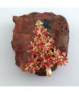 Gold Tone Christmas Tree Brooch Signed LIA, Red Glittery Poinsettia Flowers - $24.99