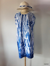 "d9a7652879 Chest 42"" Indigo Tie Dye Women Dress Kaftan Tunic Tops Casual Beach Slee."