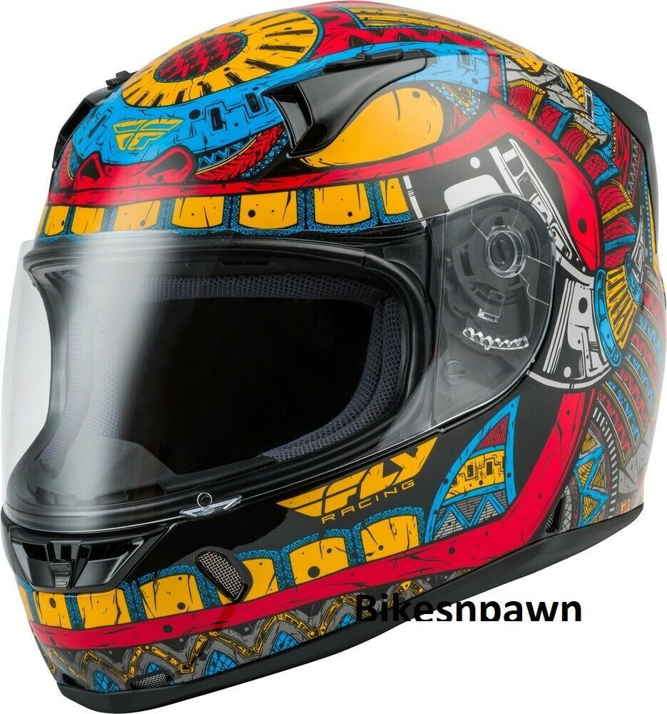 Adult L Fly Racing Revolt Codex Motorcycle Helmet Blue/Red/Yellow DOT & Snell