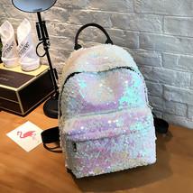 2018 Mosaic Sequins Fashion Backpack Shoulder Bag  PU Leather Girl Bag S... - $34.52 CAD