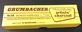 Vintage Grumbacher Artists' Charcoal 5 full sticks No 6A Medium Soft  - $13.81