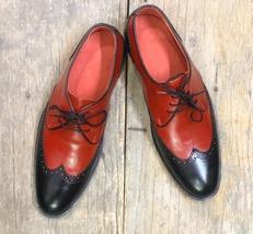 Dress wingtip Shoes for Men Handmade Wingtip Maroon Black Shoes for Men ... - $135.00