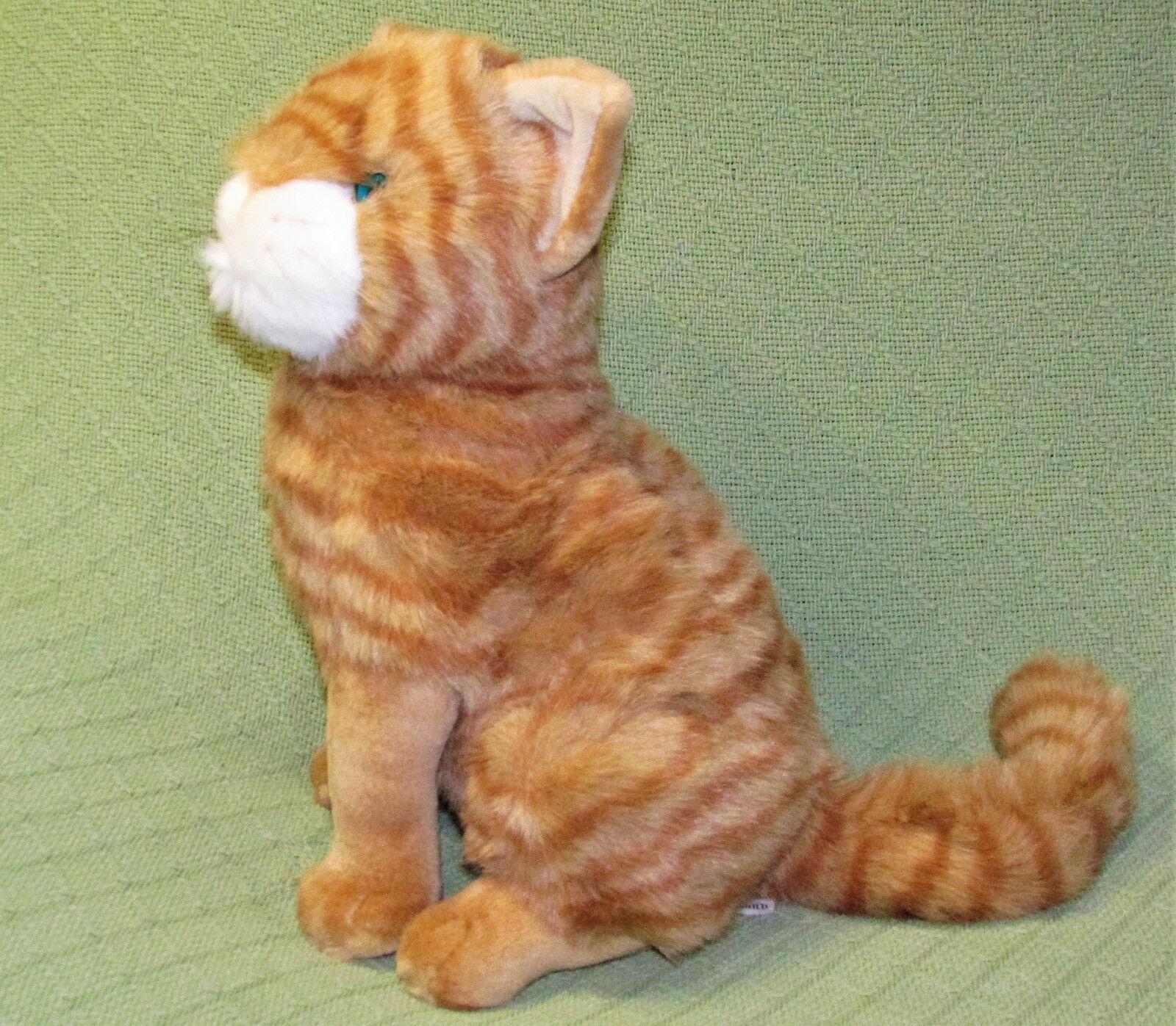 "Vintage Commonwealth TABBY CAT 14"" Orange Tan Striped Kitten Plush Stuffed Toy"