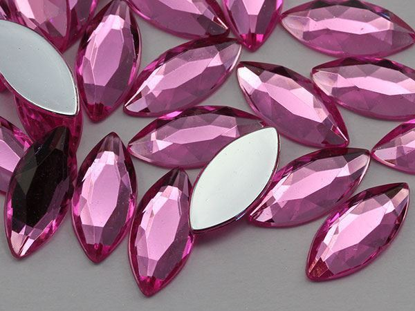 20x9mm Hot Pink A20 Flat Back Navette Acrylic Gems High Quality - 25 PCS
