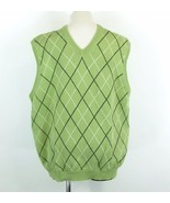 Brooks Brothers 346 Men's L Argyle Supima Cotton Sweater Vest Green Black - $14.99