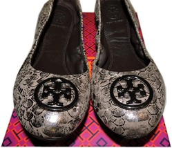 Tory Burch Heidi Ballet Flat Logo Minnie Reva Leather Ballerina Shoe Met... - $147.00