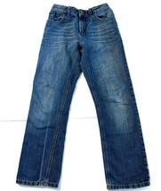 Tommy Hilfiger Junior Size 14 Blue Jeans Unisex Elastic Back Straight Distressed - $35.71