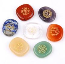 set of 7 Chakra Stones-Reiki Healing Crystal with Engraved Chakra Symbol... - $29.44