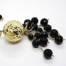 Necklace Silver 925, Yellow, Big Sphere Worked, Waterfall Onyx Black image 5