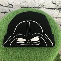 Star Wars Darth Vader Boys One Sz Hat Black Stretch Knit Roll-Up Beanie - $14.84
