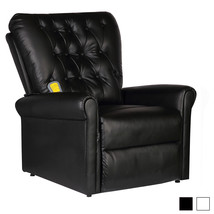 Electric Tufted TV Recliner Massage Sofa Chair Heated Seat w/ Remote Whi... - $321.99