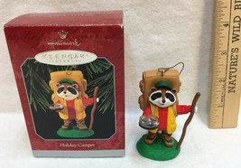 Holiday Camper Hallmark Keepsake Ornament Hiker Raccoon Figure 1998 Compass - $9.89