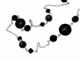 Beaded Necklace Black design with black bead decor 12075 - $16.67