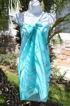 Sheer Sarong Turquoise Green Butterfly Beach Bikini Coverup Wrap Skirt Dress - $4.89
