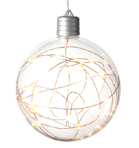 Christmas LED Clear Sphere with 30 Dew Drop String Lights Warm White Copper Wire
