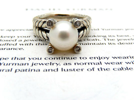 David Yurman Pearl & Diamonds Ring in Sterling Silver, size 6 - $350.00