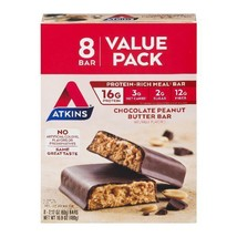 Atkins Chocolate Peanut Butter Bar, 2.1oz, 8-pack (Meal Replacement) - $30.44