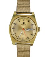 Vintage Tissot Swiss Automatic PR 516 GL Day Date 36mm Gold Plated Steel... - $249.95