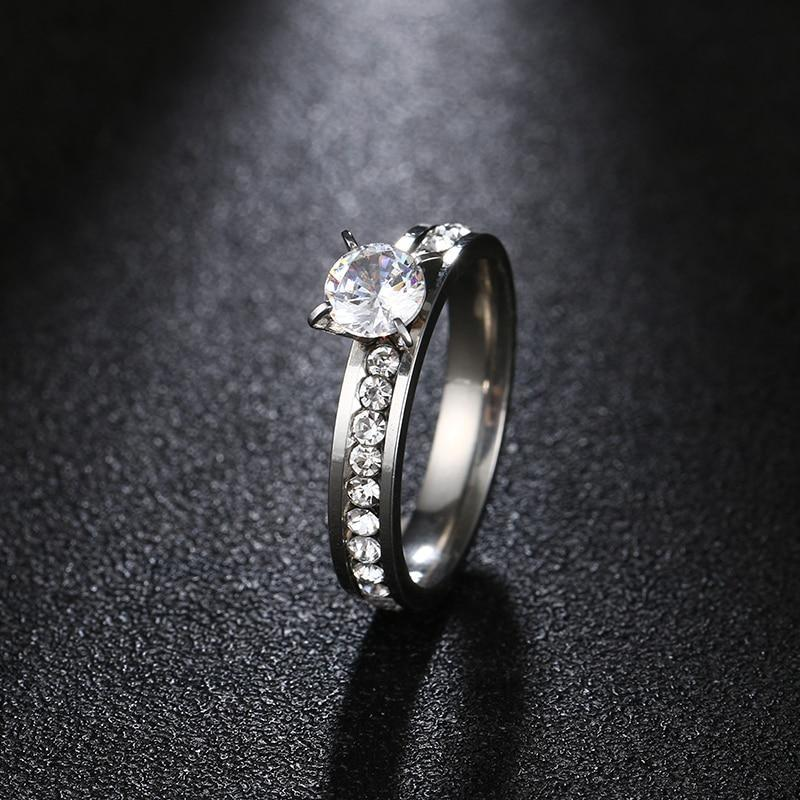 I 316l stainless steel rings for women hot sell super shiny cubic zircon engagement wedding ring