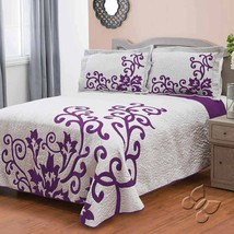 White with Purple Flor (Floral) Reversible Bedspread Set in Premium Quality - $108.85+