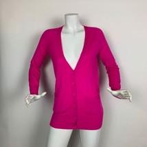 J Crew Cardigan Sweater Merino Wool Hot Pink Pockets Women size S - $53.05 CAD
