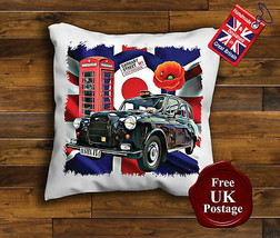 London Taxi Cushion Cover, Austin FX4 Cushion, Union Jack, Target, Poppy, - $9.01+