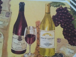 WINE Design PLACEMATS Set of 4 Vinyl Octagon French Italian Vineyard Chateau NEW image 2