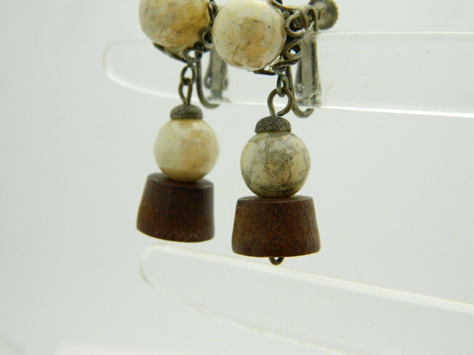 Miriam Haskell Beige Glass Wood Beaded Flower Gold Tone Clip Earrings Vintage
