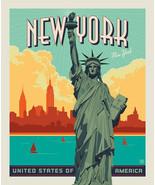 "36"" X 44"" Panel Lady Liberty Statue of Liberty New York Cotton Fabric D7... - $14.95"