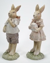 "Boy & Girl Easter Bunny Rabbits Holding Eggs & Carrots 8"" Tabletop Easter Decor - $22.72"