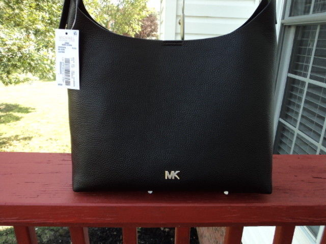 1a6c73987bc4af Authentic Michael Kors Junie Medium Hobo Pebbled Leather Black NWT Gift  Receipt