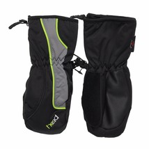 HEAD Jr Black Gray DayGlow Boys Child Insulated Ski Mittens Winter Gloves NWT image 1