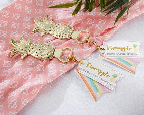 Gold Tropical Pineapple Bottle Opener Beach Bridal Wedding Favor 25 50 75 96