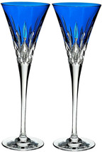 Waterford Crystal Lismore Pops Cobalt Blue Champagne Flute Pair 40019531... - $284.90
