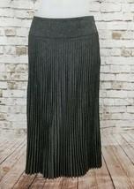 Express Womens Small 5/6 Accordion Pleated Full Circle Skirt Gray Mid Calf Italy - $24.95