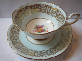 Paragon Mint Green and Gold Cup and Saucer - $65.00