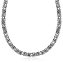 Sterling Silver Byzantine Chain Necklace with Rhodium Plating - $182.86