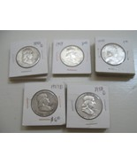 Franklin Half Dollar , Lot of 60 , Circulated ,  1940s thru 1960s - $490.05