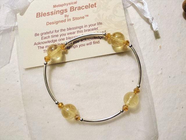 Citrine and Sterling Silver Metaphysical Blessings Bracelet-November Birthstone