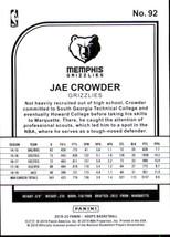 Jae Crowder 2019-20 Panini NBA Hoops Card #92 image 2