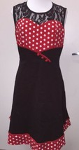 Black Red & White Polka Dot Minnie Mouse Style Fit & Flare Dress Plus Si... - $17.13