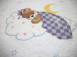 "Hand Quilted & XStitched ""MISS LULLABYE"" X stitch Baby Quilt Crib Cover ... - $169.99"
