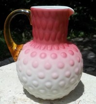 Consolidated Pheonix Art Glass pink satin cased water pitcher C.1880's - $250.00