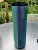 2020 Starbucks Blue Green Ribbed Tumbler Stainless Steel Vacuum-Sealed 16oz - $49.99
