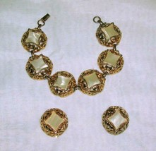 Vintage Bracelet & Clip On Earrings Goldtone with Pearlized Center - $19.59