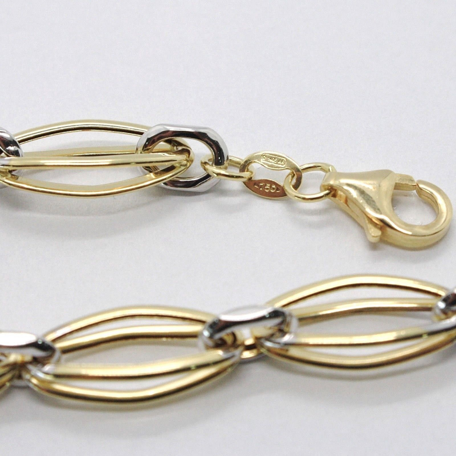 BRACELET YELLOW GOLD WHITE 18K 750, DOUBLE OVALS ALTERNATING, MADE IN ITALY
