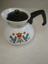 Vtg CorningWare 1975 Friendship Blue Birds Country Festival 6 Cup Tea Pot P-104 - $27.69